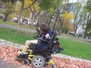 Enjoying fall leaves in Boston Common