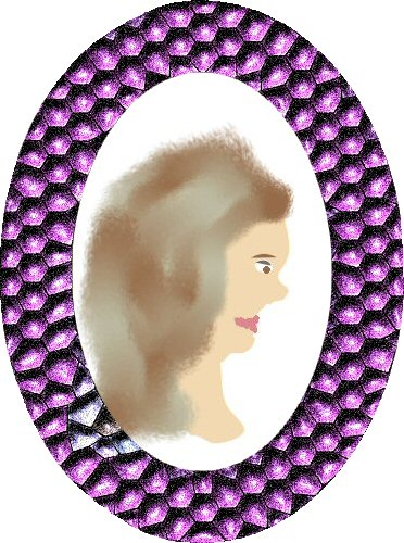 Woman's Head Profile Oval Frame