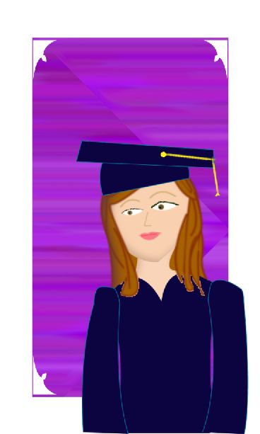Digital drawing of girl in graduation cap and gown