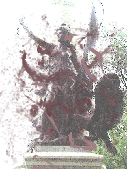 Monument splattered with blood